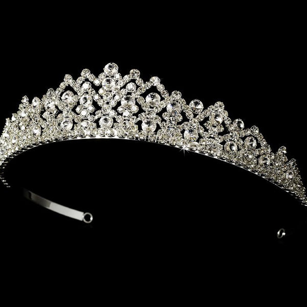 """The Diana"" Royal Rhinestone Tiara-Tiaras & Headbands-Wedding Factory-HP-6032-S-CL-Sweet Heart Details"