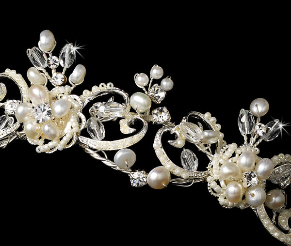 Victorian Freshwater Pearl & Crystal Tiara-Tiaras & Headbands-Wedding Factory-HP-1090-S-FW-Sweet Heart Details