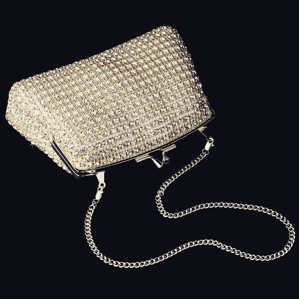 """The Ireland"" Elegant Rhinestone Mesh Evening Bag-Bags-Wedding Factory-EB-8-Sweet Heart Details"