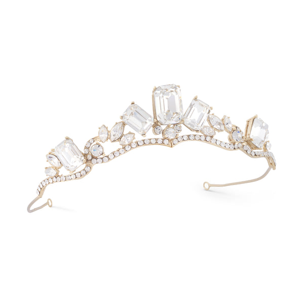 """The Isabel"" Modern Princess Rhinestone Golden Tiara-Tiaras & Headbands-Wedding Factory-Sweet Heart Details"