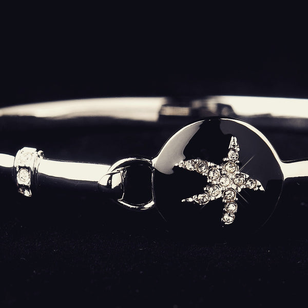 """The Isla"" Black Enamel CZ Starfish Bracelet"