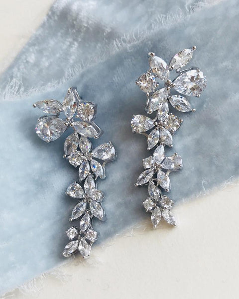 """The Delilah"" CZ Drop Earrings-Earrings-Dareth Colburn-JE-1128-Sweet Heart Details"