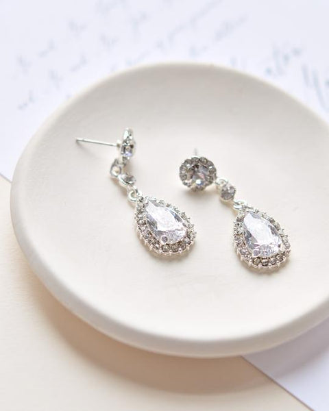 """The Stephanie"" CZ Wedding Earrings - Sweet Heart Details"