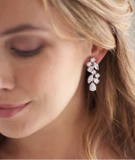 Scattered Vine CZ Earrings - Sweet Heart Details