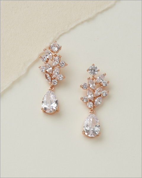 """The Anna"" Floral CZ Earrings - Sweet Heart Details"