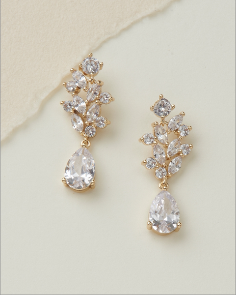 """The Anna"" Floral CZ Earrings (3 pair)-Earrings-Dareth Colburn-JE-4146-G-Sweet Heart Details"