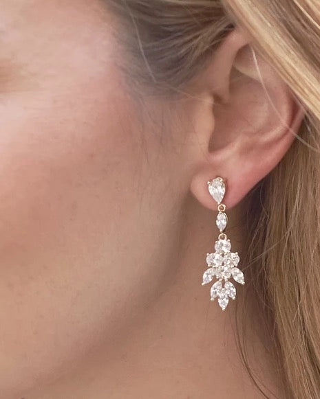 Elizabeth CZ Earrings-Earrings-Sweet Heart Details