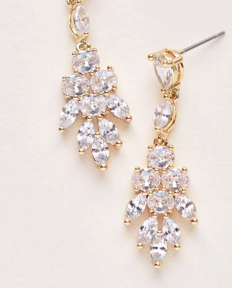 Elizabeth CZ Earrings-Earrings-JE-4150-G-Sweet Heart Details