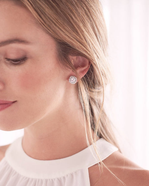 """The Isla"" Halo CZ Studs - Sweet Heart Details"