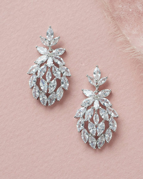 """The Linnea"" CZ Floral Earrings - Sweet Heart Details"