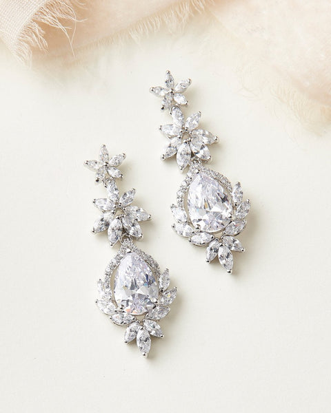 """The Kendall"" CZ Floral Earrings - Sweet Heart Details"