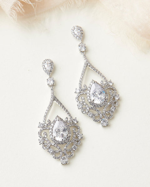 """The Charlese"" CZ Earrings - Sweet Heart Details"