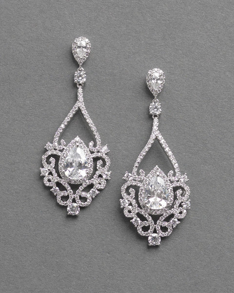 """The Charlese"" CZ Earrings by Dareth Colburn-Earrings-Dareth Colburn-JE-7087-S-Sweet Heart Details"
