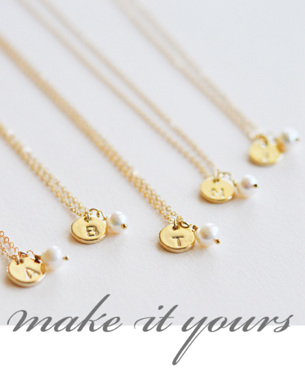 Engraved Initial Bridesmaids' Necklaces - Sweet Heart Details