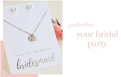 Engraved Initial Bridesmaid Jewelry Sets - Sweet Heart Details