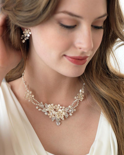 """The Eve"" Floral Necklace and Earrings-Jewelry Sets-Dareth Colburn-Sweet Heart Details"