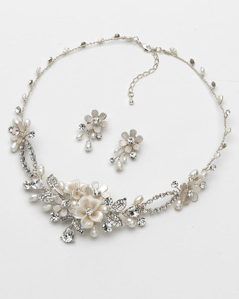 """The Eve"" Floral Necklace and Earrings"