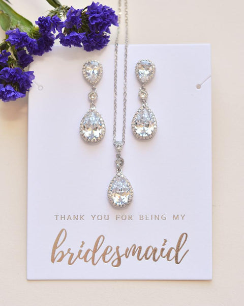 Madeline CZ Bridesmaid Pendant Set - Sweet Heart Details