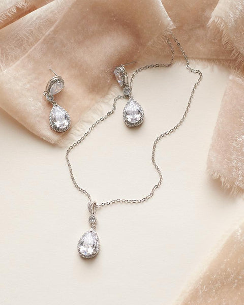 Madeline CZ Pendant Jewelry Set-Jewelry Sets-JE-4140-S-BR-Sweet Heart Details