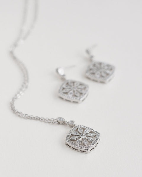 """The Lyla"" Floral CZ Necklace & Earrings - Sweet Heart Details"
