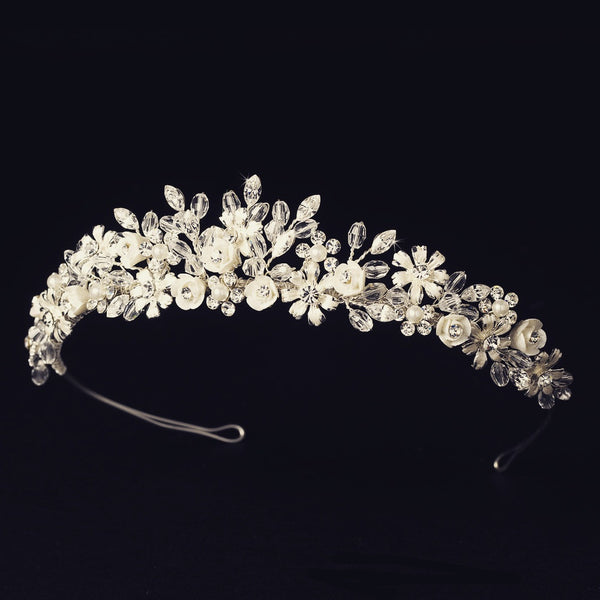 """The Jade"" Porcelain Floral Tiara-Tiaras & Headbands-Wedding Factory-Sweet Heart Details"