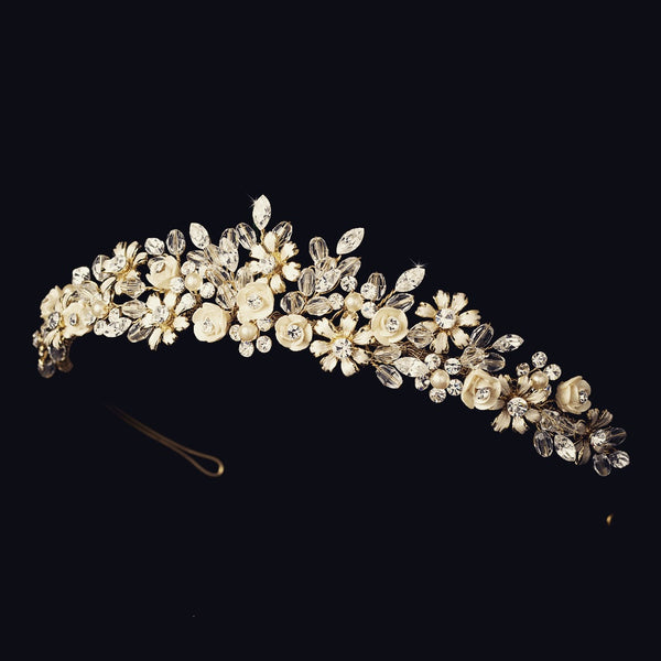 """The Jade"" Porcelain Floral Tiara (multi-colors)"
