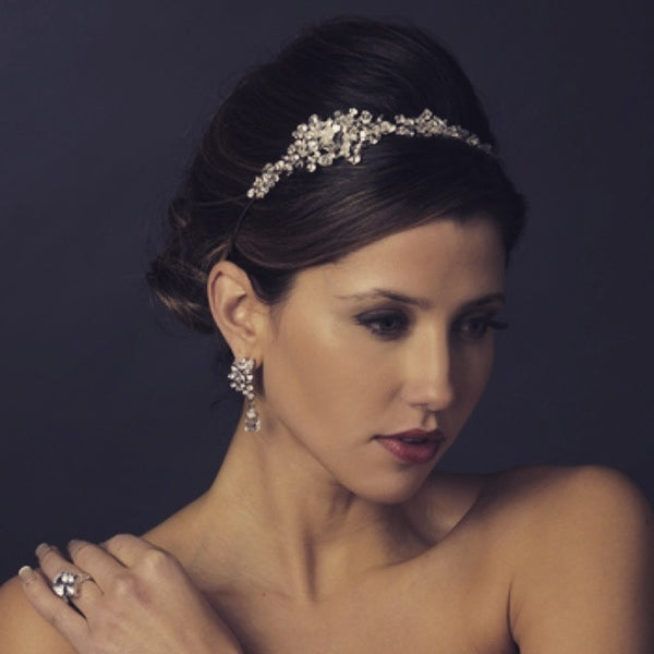 """The Jess"" Sparkling Swarovski & Rhinestone Headpiece-Tiaras & Headbands-Wedding Factory-HP-940-AS-CL-Sweet Heart Details"