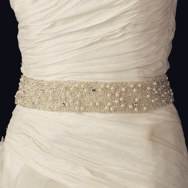 """The Jo"" Elegant Ivory Pearl & Glass Bead Belt-Sashes & Belts-Wedding Factory-Belt-302-Ivory-Sweet Heart Details"