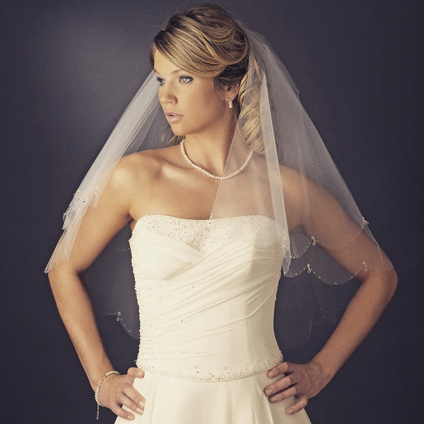 """The Jordana"" Double Layer Veil w Crystals & Beads - Sweet Heart Details"
