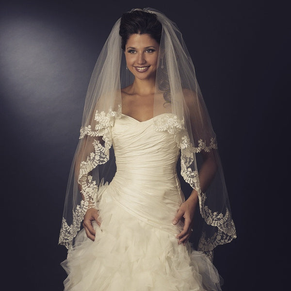 """The Jordyn"" Floral Embroidered Double Layer Veil-Veils-Wedding Factory-Sweet Heart Details"