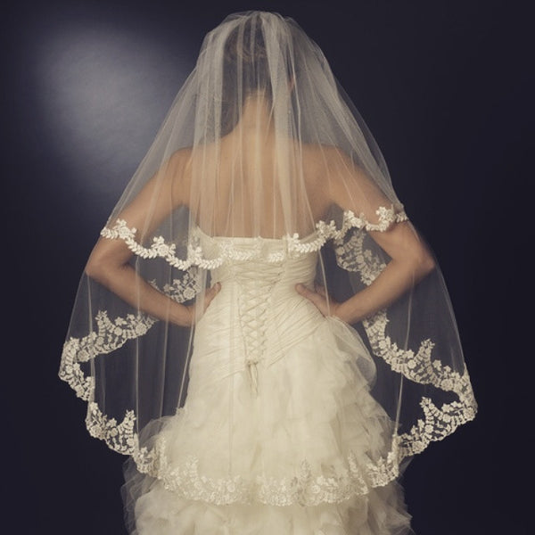 """The Jordyn"" Floral Embroidered Double Layer Veil - Sweet Heart Details"