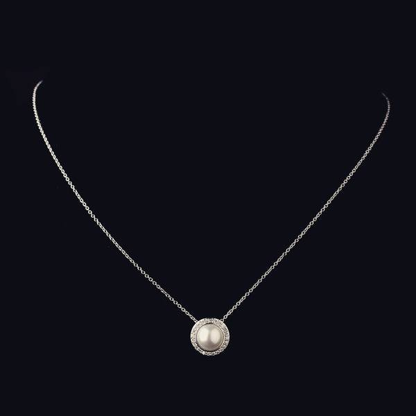 """The Jude"" Solid 925 Sterling Silver CZ & Pearl Halo Necklace"