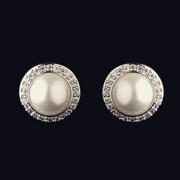 """The Jude"" Solid 925 Sterling Silver CZ & Pearl Halo Set"