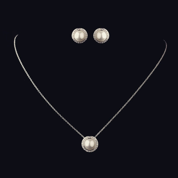 """The Jude"" Solid 925 Sterling Silver CZ & Pearl Halo Set-Sterling Silver-Wedding Factory-8821-Sweet Heart Details"
