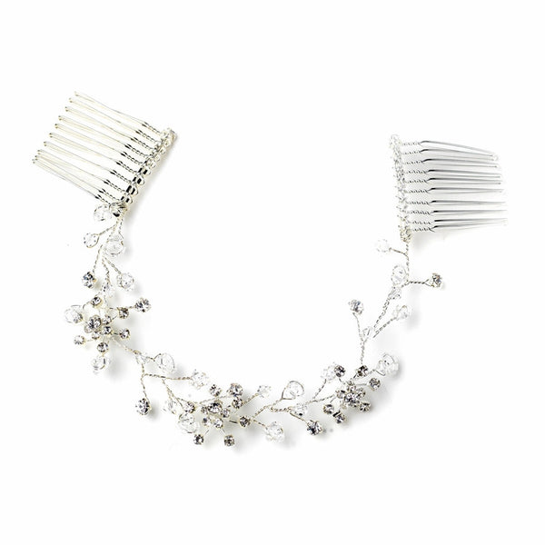"""The Julie"" Clear Crystal Floral Vine Headpiece - Sweet Heart Details"