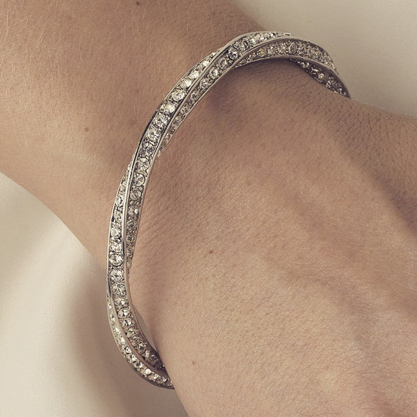 """The Kailynn"" Silver & Crystal Twist Bracelet-Bracelets-Wedding Factory-B-926-S-CL-Sweet Heart Details"