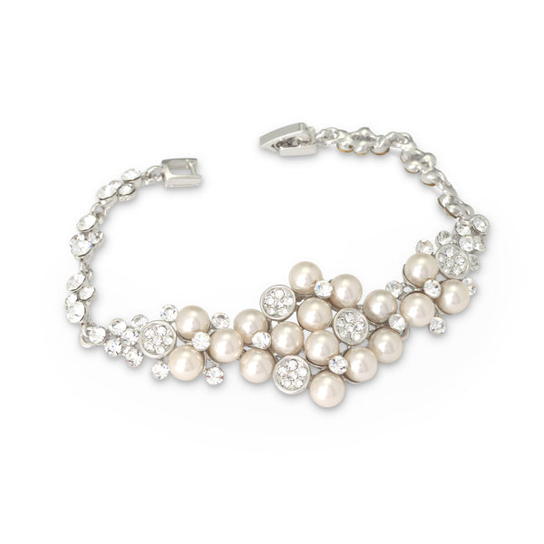 """The Kallie"" Diamond White Pearl Bracelet-Bracelets-Wedding Factory-B-176-RD-DW-Sweet Heart Details"
