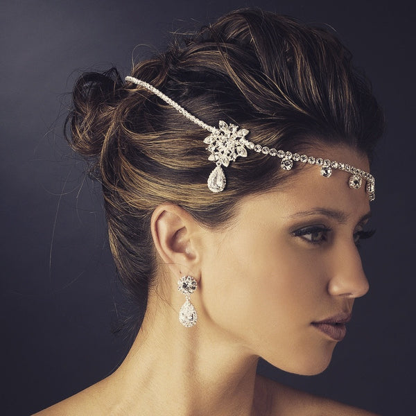 """The Kim"" Silver & Clear Rhinestone Headpiece - Sweet Heart Details"