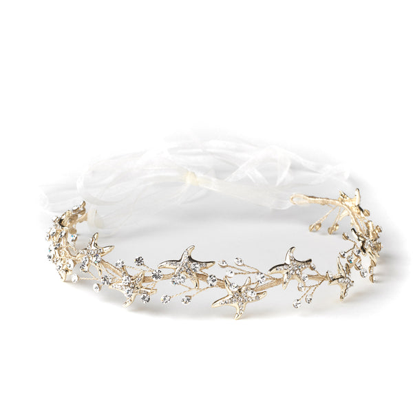 """The Kora"" Clear Rhinestone Starfish Bridal Headband-Tiaras & Headbands-Wedding Factory-HP-1591-LG-CL-Sweet Heart Details"