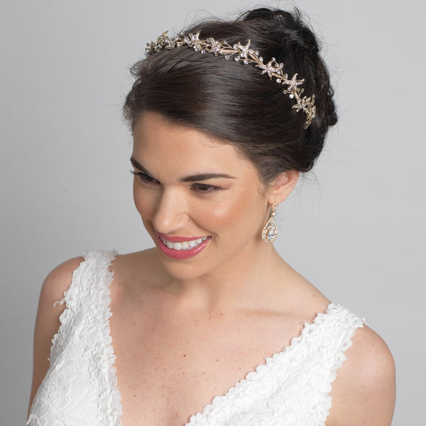 """The Kora"" Clear Rhinestone Starfish Bridal Headband-Tiaras & Headbands-Wedding Factory-Sweet Heart Details"