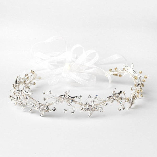 """The Kora"" Clear Rhinestone Starfish Bridal Headband-Tiaras & Headbands-Wedding Factory-HP-1591-S-CL-Sweet Heart Details"