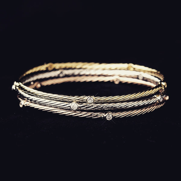 """The  Lara"" TriColor Crystal Accented Bracelet Set - Sweet Heart Details"