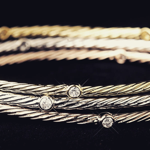 """The  Lara"" TriColor Crystal Accented Bracelet Set"