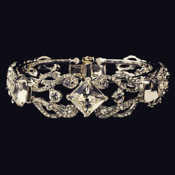 """The Latisha"" Antique Silver Crystal Cuff Bracelet"