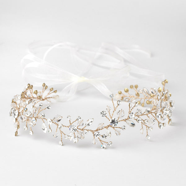 """The Lauryn"" Swarovski Crystal Vine Bridal Headband - Sweet Heart Details"