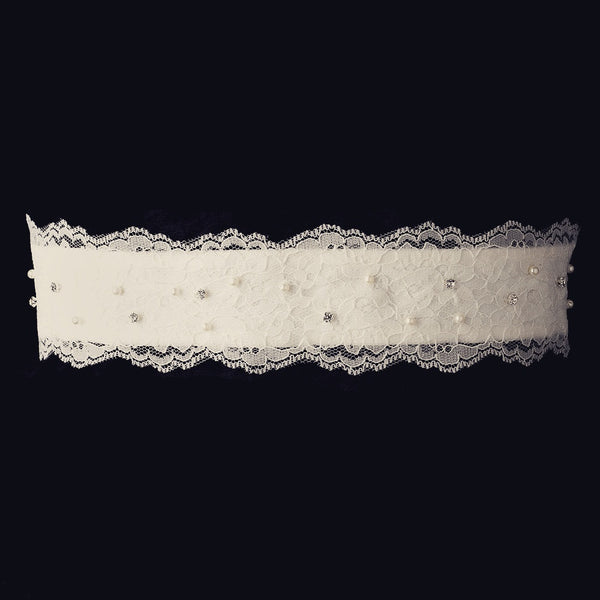 """The Lecia"" Lace Pearl & Crystal Embroidered Belt"