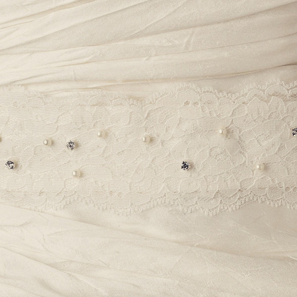 """The Lecia"" Lace Pearl & Crystal Embroidered Belt - Sweet Heart Details"