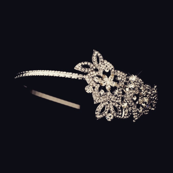 """The Leena"" Antique Crystal Side Accent Headband"