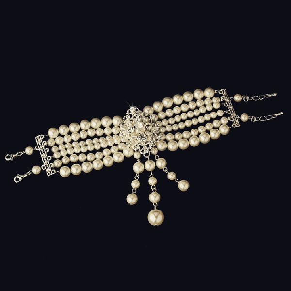 """The Leilah"" Classic Silver Pearl Drop Bracelet"