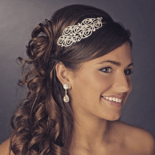 the leilany crystal filagree side headband sweet heart details